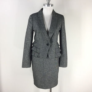 Ann Taylor 6 p Gray black Wool Blend Skirt Suit